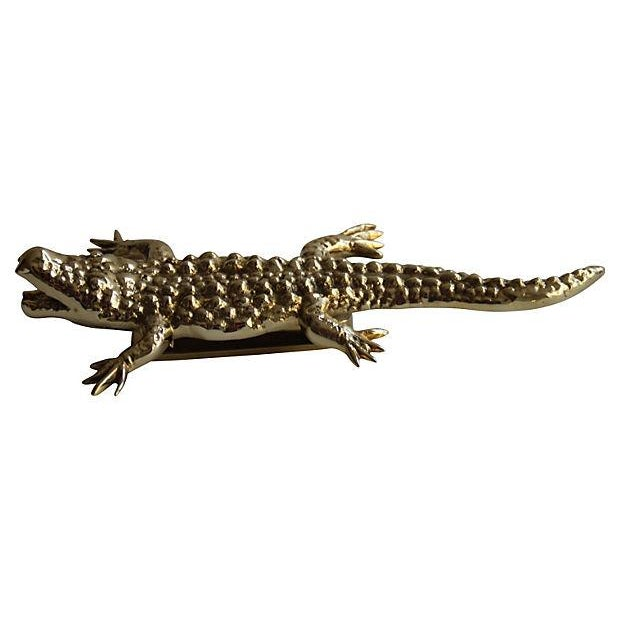 Solid Brass Alligator Door Knocker - Image 3 of 4