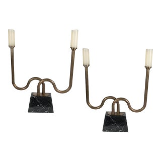 Pair of Mid-Century Modernist Bronze Candlesticks with Polished Marble Bases