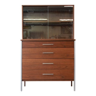 Paul McCobb for Calvin Four-Drawer Chest of Drawers with Glass Front Hutch For Sale