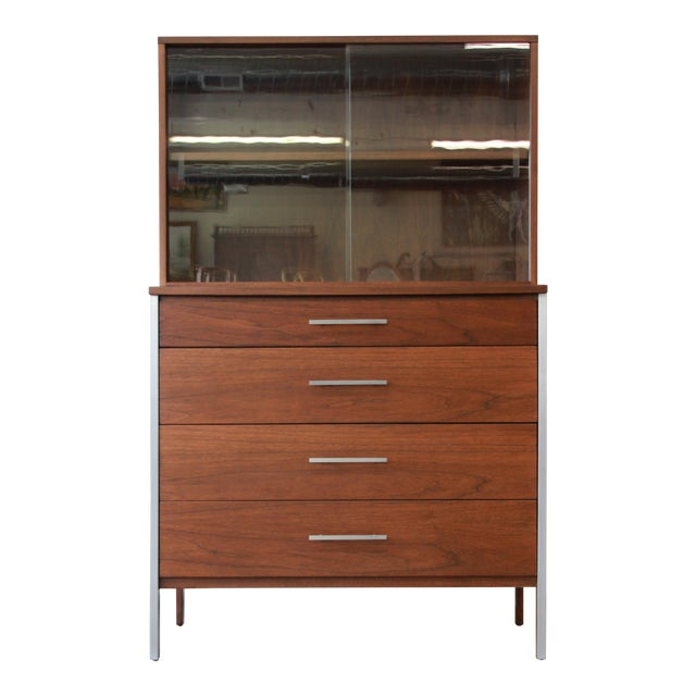 Paul McCobb for Calvin Four-Drawer Chest of Drawers with Glass Front Hutch - Image 1 of 11