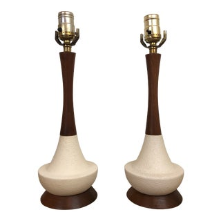 Danish Modern Textured Ceramic and Walnut Table Lamps - a Pair For Sale