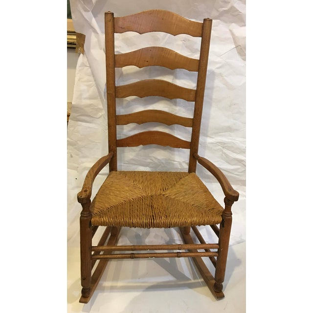 Vintage Rush Seat Rocking Chair For Sale - Image 9 of 9
