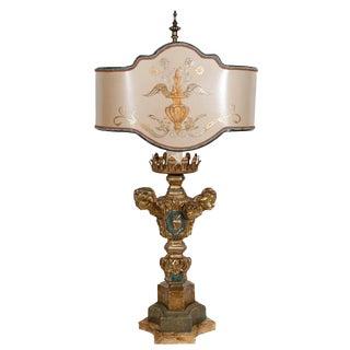 18th C. Italian Giltwood Candlestick Lamp For Sale