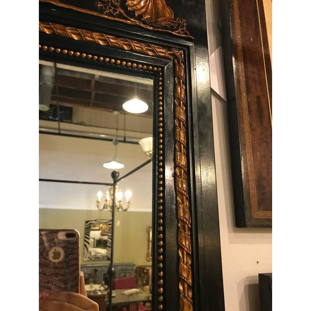 Wood French Ebonized Neoclassical Style Wall or Console Mirror For Sale - Image 7 of 11