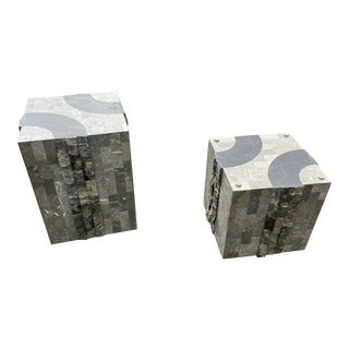 Tessellated Marble Cocktail Tables - A Pair For Sale