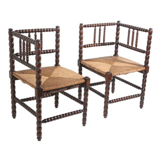Antique French Rush-Seat Corner Chairs - a Pair For Sale