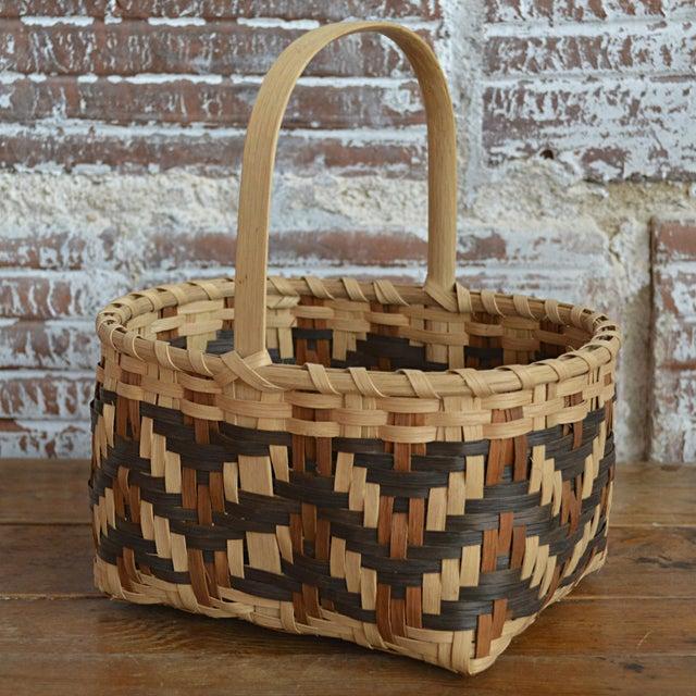 Carol Welch Cherokee White Oak Small Market Basket For Sale - Image 5 of 9
