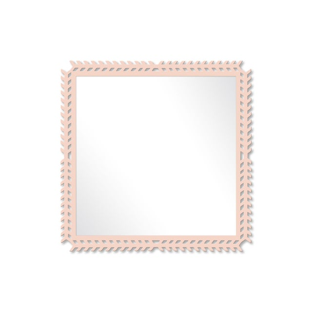 Fleur Home x Chairish Toulouse Trellis Mirror in Pink Ground, 24x24 For Sale - Image 4 of 4