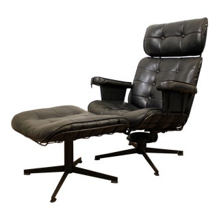 Mid-Century Danish Modern Homecrest Bottemiller Lounge Chair B99T & Ottoman B610 For Sale