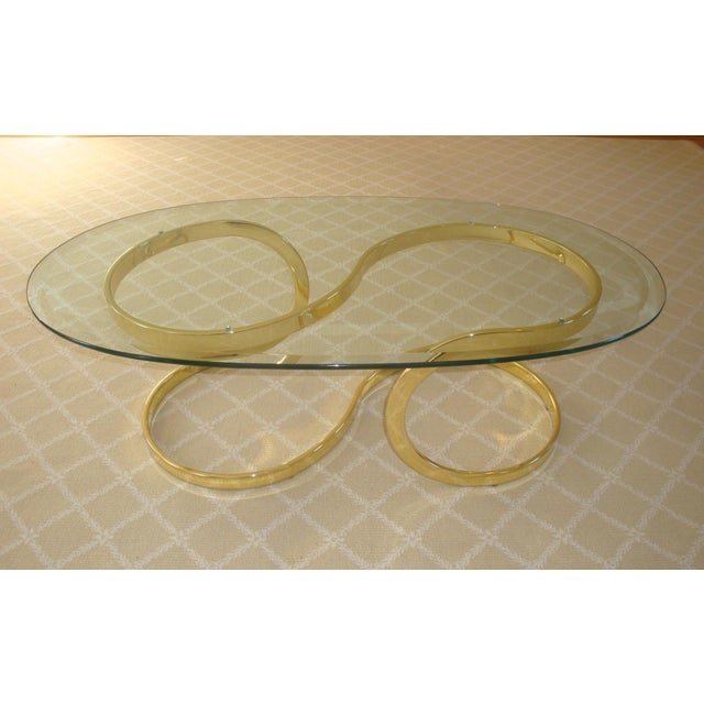 Contemporary Brass Ribbon and Glass Coffee Table after Milo Baughman For Sale - Image 3 of 9