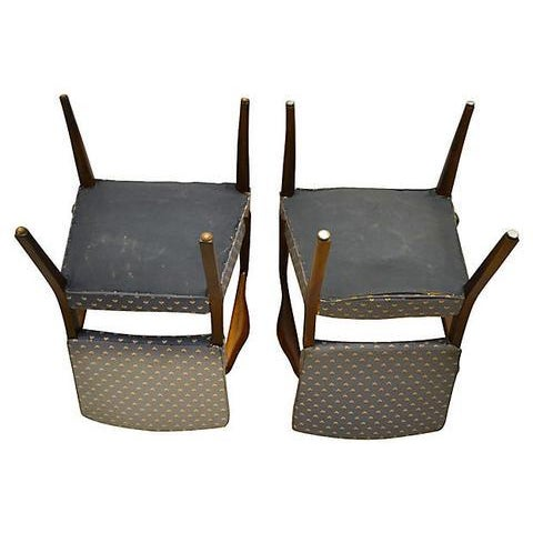 "Mid Century Modern pair of Danish armchairs designed by Finn Juhl for Stow Davis. Seat, 17""H. No maker's mark. Fabric..."