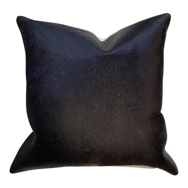 "Black Cowhide Pillow 18"" For Sale"