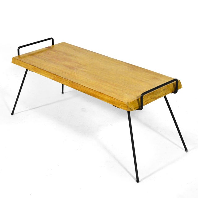 Wood Bench / Table With Iron Legs For Sale - Image 4 of 11