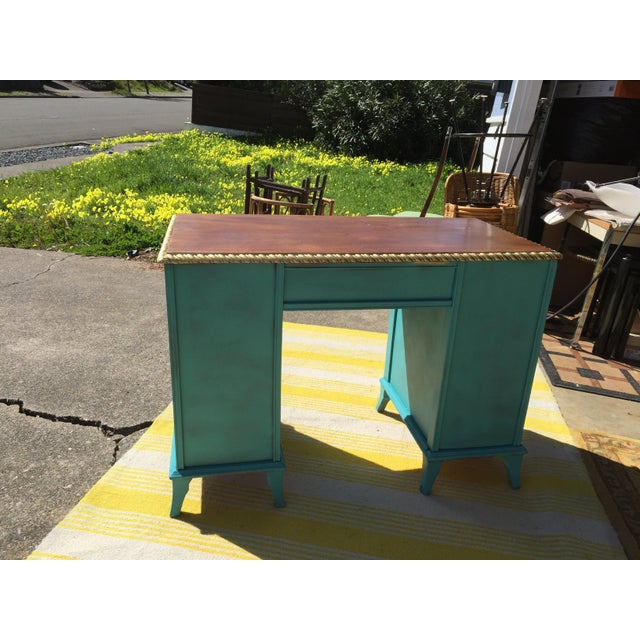 Turquoise 20th Century Traditional Duncan Phyfe Partner Desk For Sale - Image 8 of 10