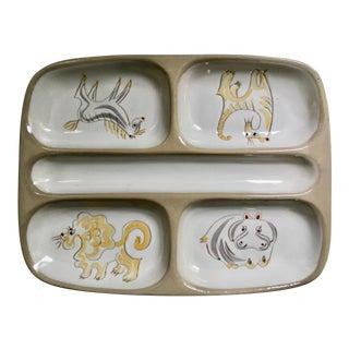 """1950s Ernest Sohn for Glidden Pottery """"Menagerie"""" Glazed Ceramic Divided Dish For Sale"""