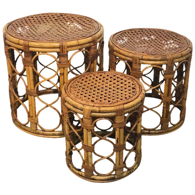 Set of Three Graduating/ Nesting Bamboo, Rattan and Reed Nesting Side Tables For Sale