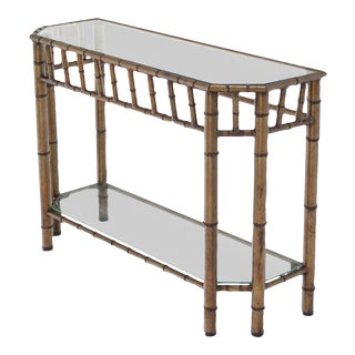 Vintage Mid Century Metal Faux Bamboo Medium Size Console Table For Sale