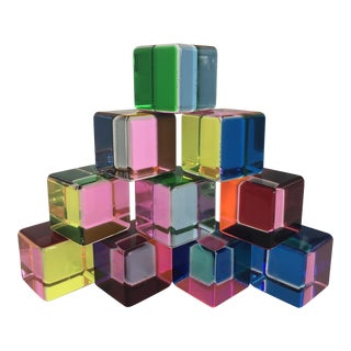 Multi-Color Vasa Acrylic Cubes - Set of 10 For Sale