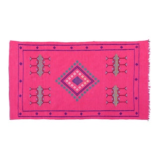 Pink & Blue Moroccan Silk Rug- 6'6'' x 3'8'' For Sale