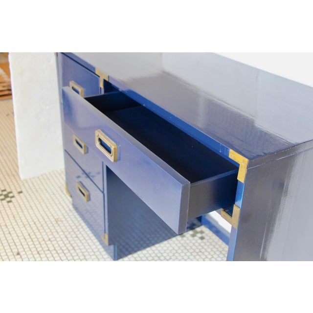 Navy Campaign-Style Desk - Image 5 of 7