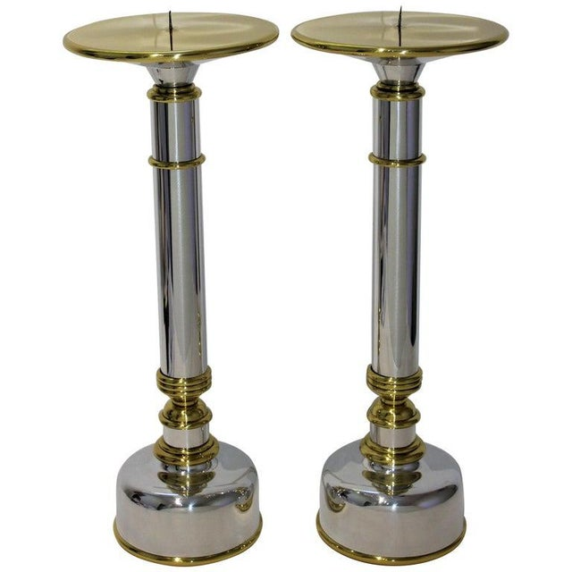 Mid-Century Modern Candlesticks in Aluminum and Brass - a Pair For Sale - Image 13 of 13