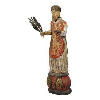 Wooden Carved Sculpture of a Saint Ca. 1850 For Sale