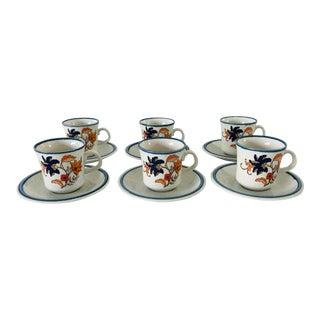 "Vintage Mikasa ""Cordon Bleu ""Pattern Teacups & Saucers - Service for 6 For Sale"