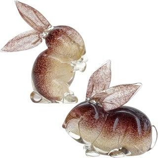 Archimede Seguso Murano Vintage Gold Flecks Italian Art Glass Bunny Rabbit Figurines