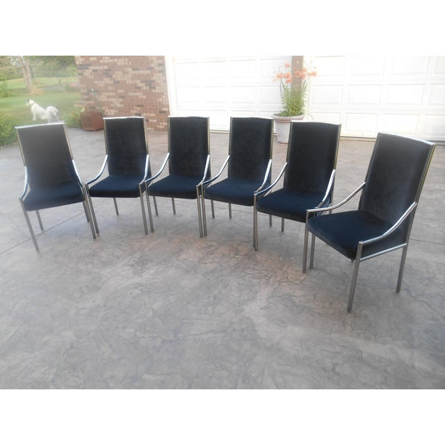 Bassett Mid Century Modern Chrome And Black Velvet Dining Chairs