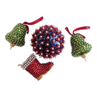 Beaded Vintage Americana Christmas Ornaments - Set of 4 For Sale