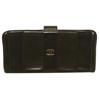 Chanel Black Leather Bow Wallet Clutch For Sale