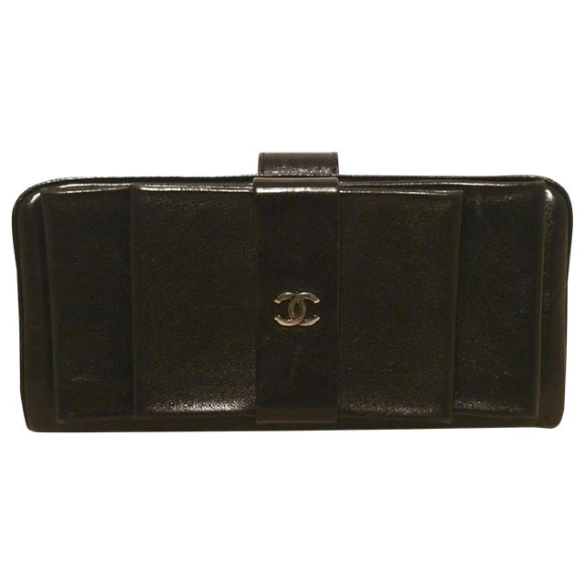 8e2b4ce1f64a Chanel Black Leather Bow Wallet Clutch | Chairish