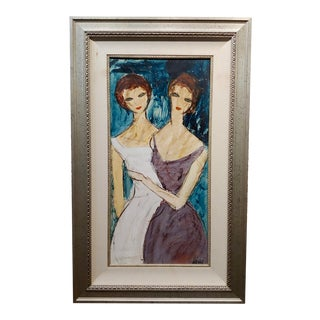 Charles Levier - Two Girlfriends -Oil Painting -C1960s For Sale