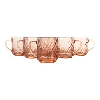 Vintage Pink Swirl Mugs - Set of 6 For Sale