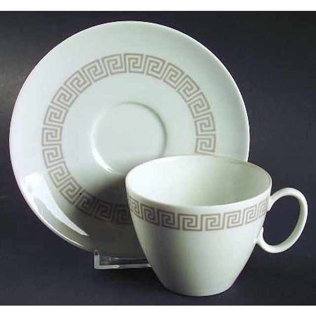 Rosenthal China, 1960s, White with Taupe Greek Key Athenian pattern Place setting for 8, total 63 pieces.