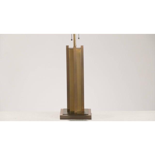 Mid-Century Modern Pair of Gaetano Sciolari Brass and Bronze Lamps, 1970s For Sale - Image 3 of 6