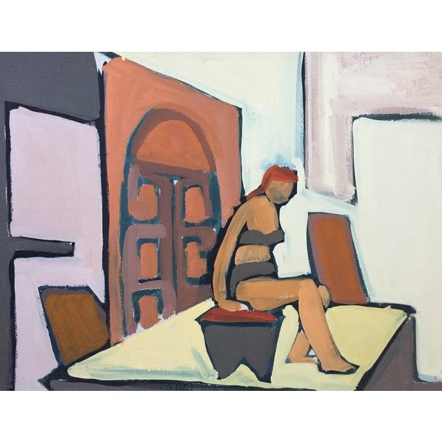 "1950s Gouache Figurative Painting Bay Area Artist ""Bikini"" For Sale"