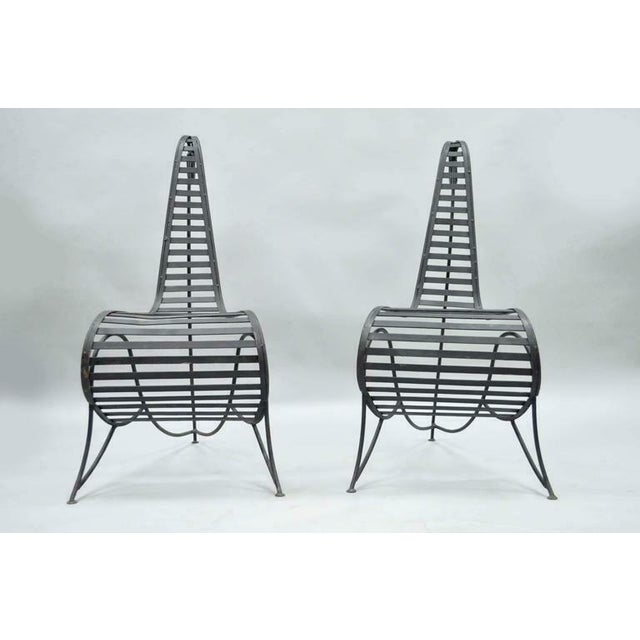 Mid-Century Modern Vintage Whimsical Steel Iron Spine Lounge Chairs After André Dubreuil - A Pair For Sale - Image 3 of 10