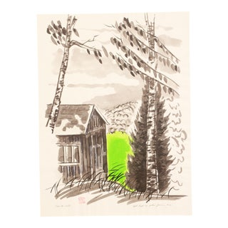 Modernist Watercolor Painting Cabin in Woods on Green Lake For Sale