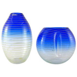 Barbini Murano Yellow and Blue Stripe Glass Vase Set For Sale