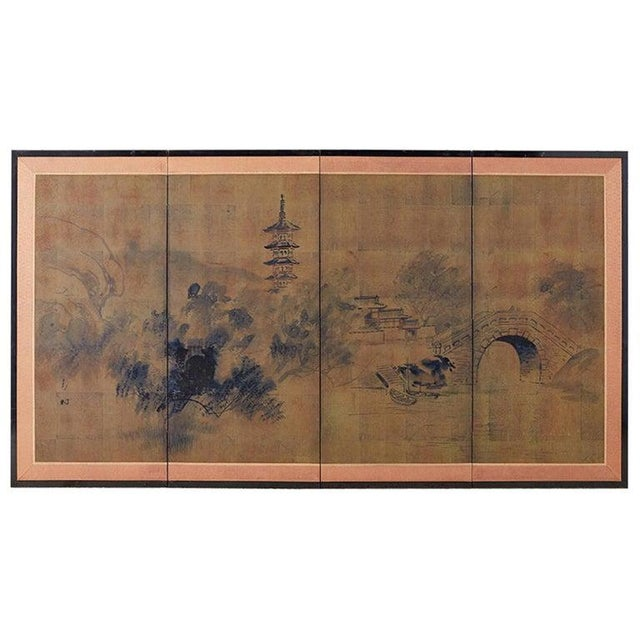 Japanese Four-Panel Screen of Pagoda Bridge Landscape For Sale - Image 13 of 13