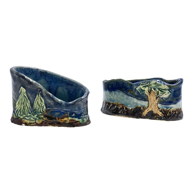 Handmade Ceramic Business Card Holders With Painted and Textured Landscapes - a Pair For Sale