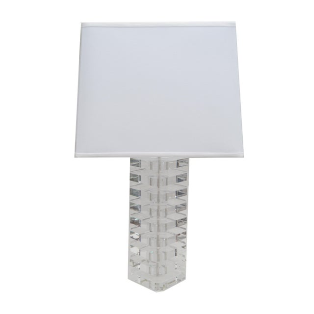 Modern Pair of Stacked Lucite Table Lamps For Sale - Image 3 of 11