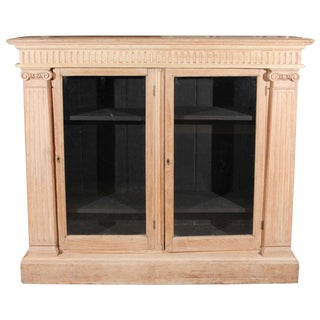 Late 19th Century English Oak Bookcase With Glass Doors For Sale