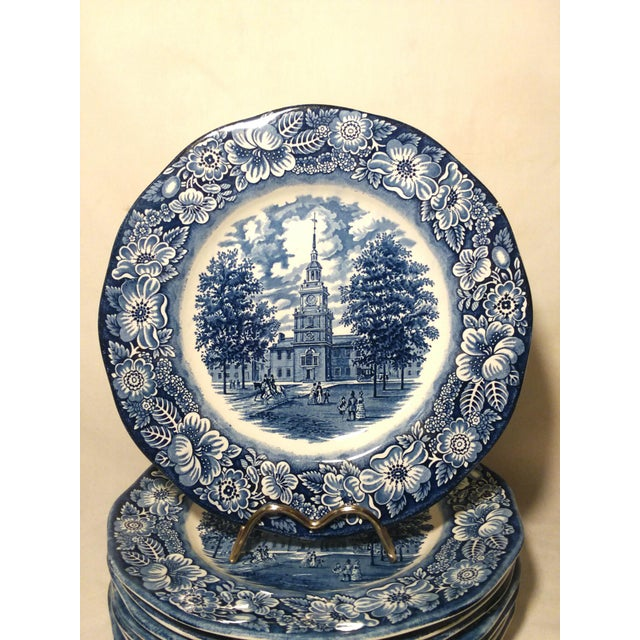 1970'S Staffordshire England ironstone transferware in the liberty blue-Independence Hall Pattern features an original...