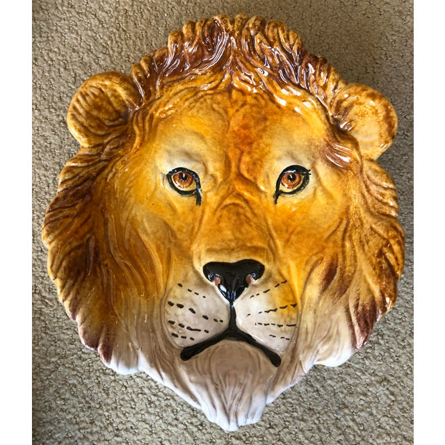 Rare Terra Cotta Glazed Lion Figure Dish, Made in Italy For Sale - Image 4 of 4