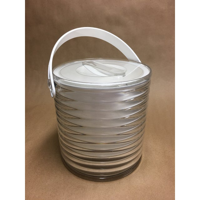 Awesome ribbed lucite ice bucket from Sally Designs, crisp and clean inside and out, with a removable liner for ease of...