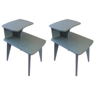 Retro Duck Blue Side Tables - A Pair