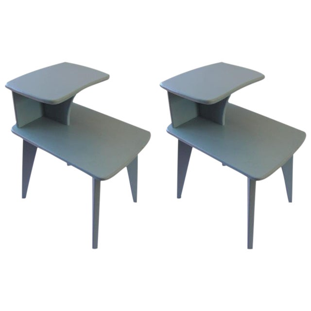 Retro Duck Blue Side Tables - A Pair - Image 1 of 6