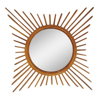 Vintage French Starburst Rattan Mirror For Sale
